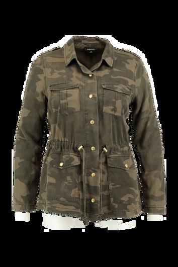Chaqueta militar con estampado de camuflaje