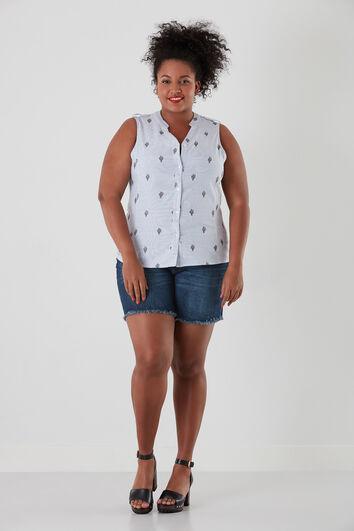 Blusa sin mangas con bordados