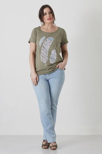 Camiseta básica con estampado de plumas