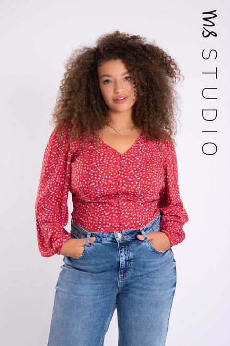 Blusa corta con estampado floral