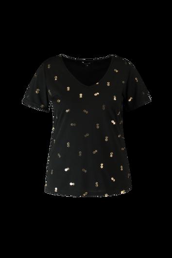 Camiseta con estampado metálico dorado