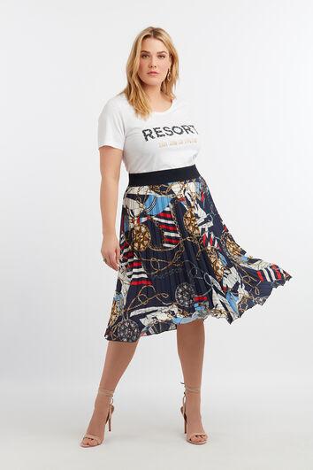 Falda plisada con estampado