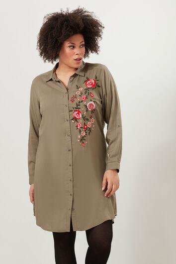 Vestido camisero con bordados