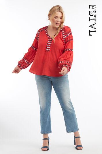 Blusa con estampado bordado