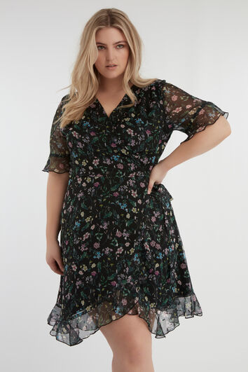 Vestido cruzado con estampado de flores y lúrex