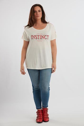 Camiseta con estampado y ribete deportivo