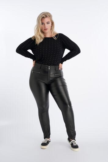 Pantalones de cuero sintético con cremalleras