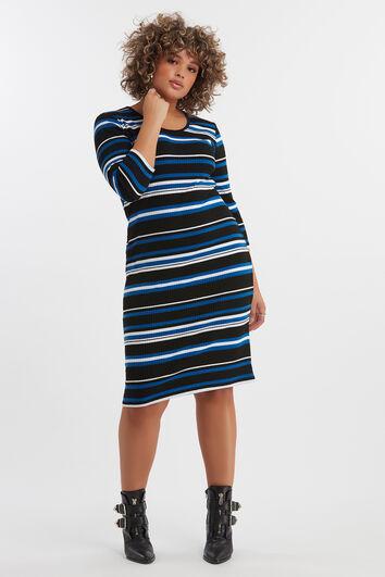 Vestido estriado de rayas horizontales