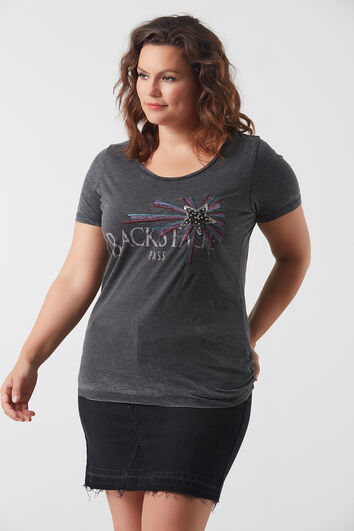 Camiseta con estampado y lentejuelas