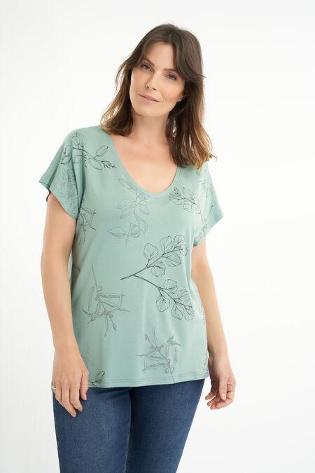 Camiseta con estampado botánico