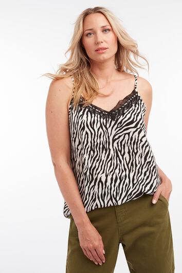 Blusa sin mangas con estampado de cebra