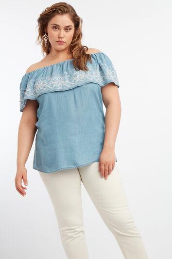 Blusa de Tencel con hombros descubiertos