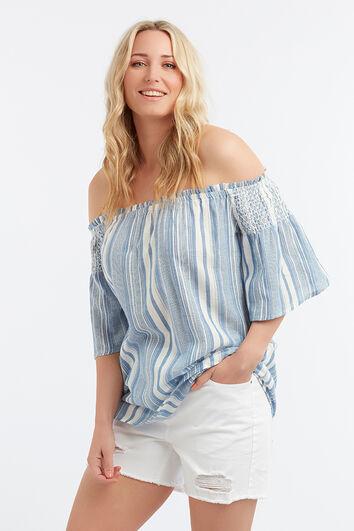 Blusa estampada con técnica de nudos