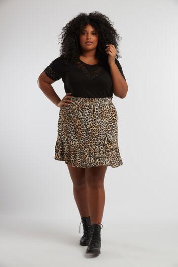 Falda de leopardo con volante