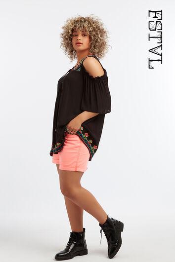 Shorts de sarga de color rosa neón