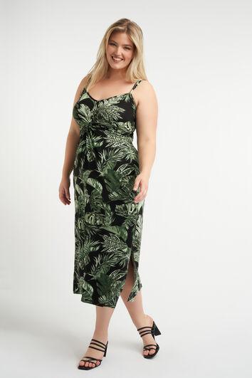 Vestido con estampado de hojas