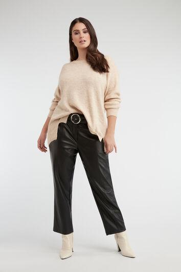 Pantalones de cuero PU con cinturón