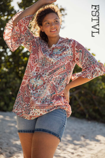 Blusa larga con estampado