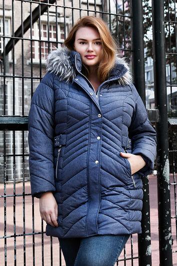 Abrigo de invierno acolchado con cuello de pelo sintético