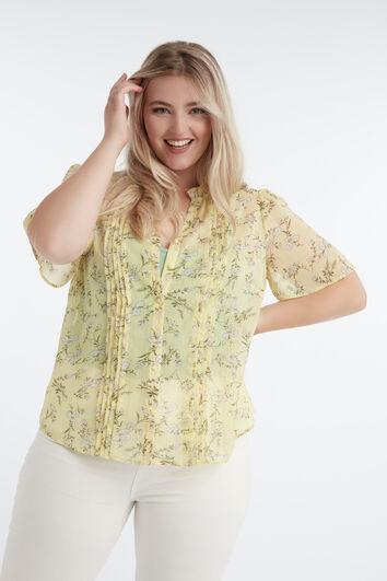 Blusa con estampado floral y detalles de lúrex