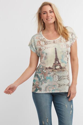 Camiseta con estampado de panel