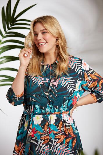 Vestido tipo blusa con estampado tropical