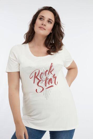 Camiseta con texto impreso y brillantes