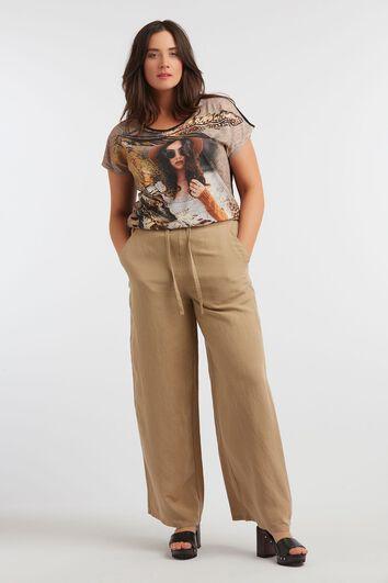 Pantalones de pernera ancha de mezcla de lino