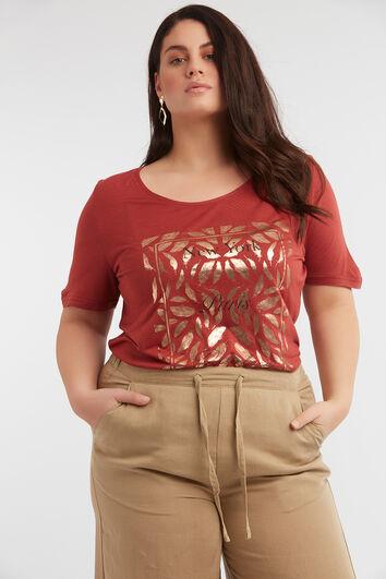 Camiseta con estampado metálico