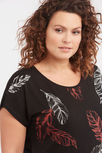 Camiseta con estampado de pluma