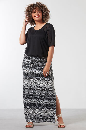 Falda maxi con estampado integral