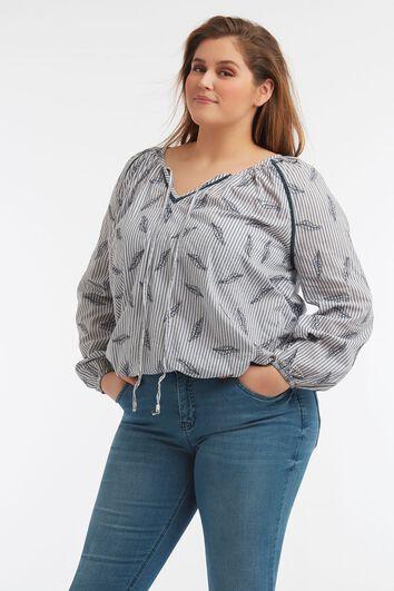 Blusa de rayas con estampado