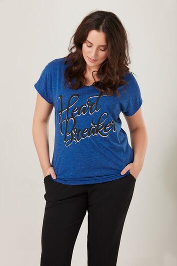 Camiseta con lúrex y texto estampado
