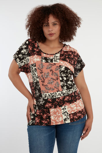 Top con estampado patchwork