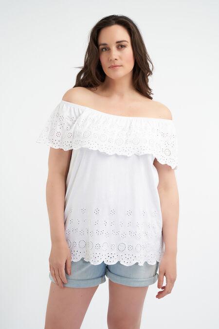 Top de algodón con hombros descubiertos