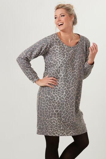 Vestido de sudadera con estampado de leopardo