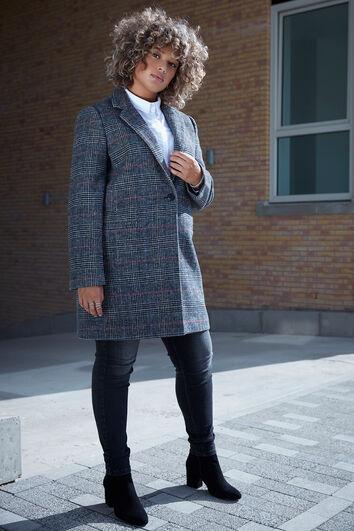 Abrigo de lana a cuadros