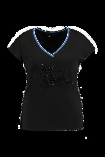 Camiseta con brillantes negros sintéticos