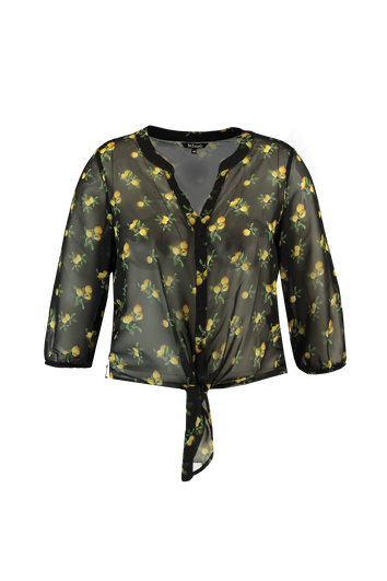 Blusa transparente con estampado de limón