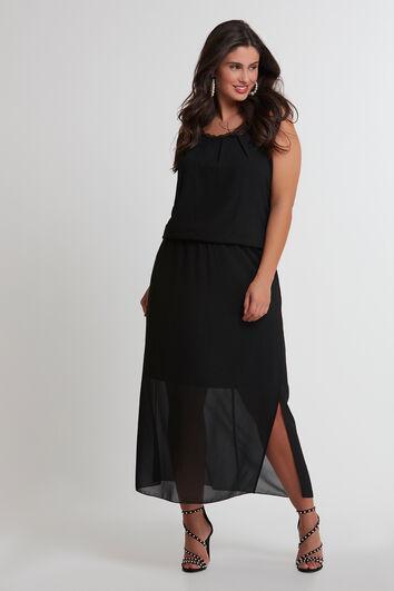 Vestido maxi con detalles de encaje