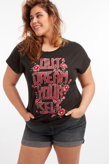 Camiseta con texto estampado y estrás