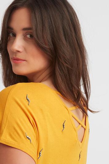 Camiseta con bordado y tiras cruzadas