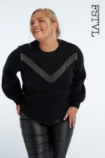 Suéter con flecos decorativos