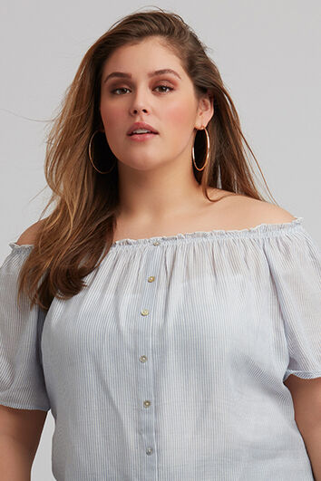 True Blue Offshoulder
