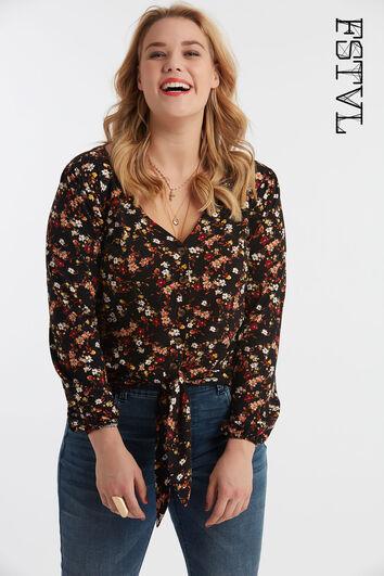 Blusa de botones con estampado floral