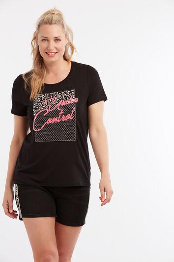 Camiseta con brillantes sintéticos y bordado