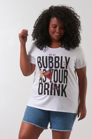 Camiseta con estampado y cuentas