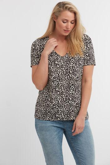 Camiseta de cuello de pico con estampado de leopardo
