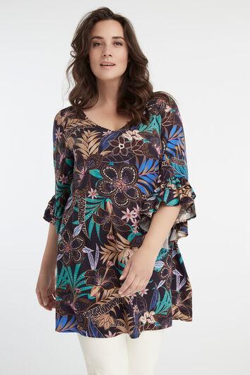 Blusa larga con estampado de flores