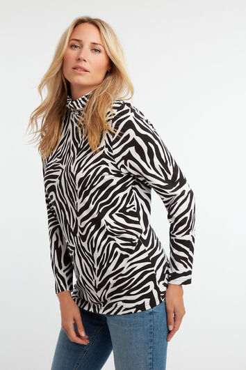 Blusa de viscosa con cuello alto
